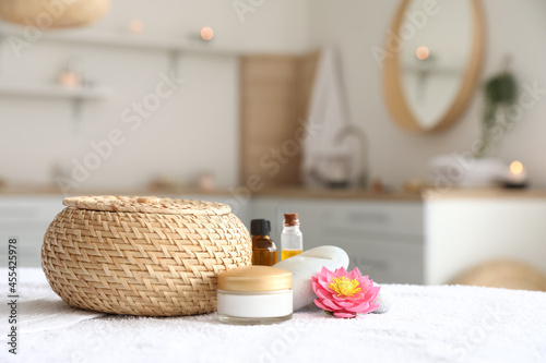 Beautiful spa composition on couch in salon