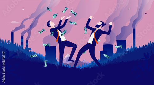 Fotografia, Obraz Making money from pollution - Corporate greedy businessmen celebrating earnings in polluted landscape