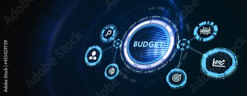 Obraz na plátně Budget planning business finance concept on virtual screen interface