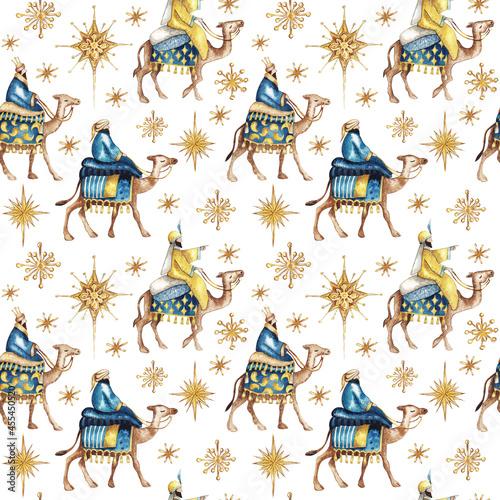 Billede på lærred Three biblical Kings (Caspar, Melchior and Balthazar) follow the star