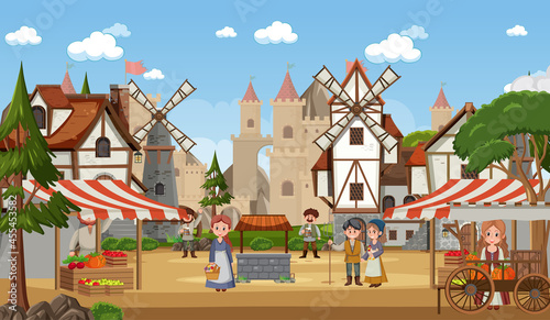 Fotografija Medieval town scene with villagers at the market place