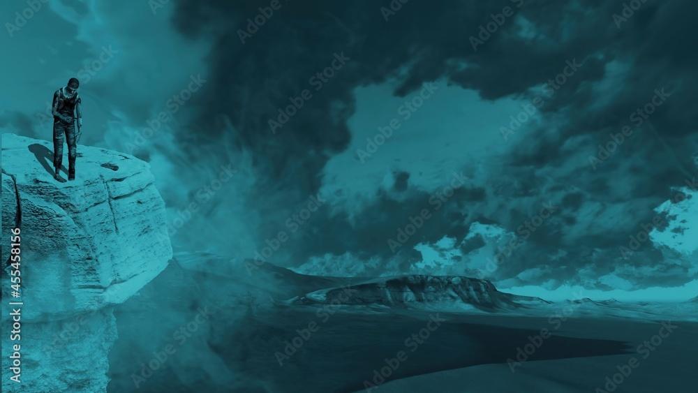3d illustration -Zombie stands on the rocks - obrazy, fototapety, plakaty