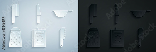 Fotografiet Set Cookbook, Kitchen colander, Grater, Bread knife, Knife and Meat chopper icon