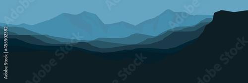 Canvas-taulu morning mountain flat design vector illustration good for wallpaper, background,