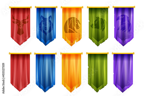Obraz na plátně Game team flag set, vector medieval battle UI cloth banner, knight royal pennant, eSport victory logo