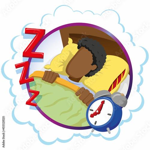 Murais de parede Mascot person man afro descendant sleeping peacefully