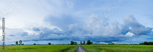Fotografie, Obraz Panorama Dark sky and dramatic black cloud before the rain