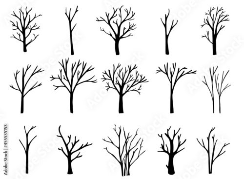 Foto Naked trees silhouettes set. Hand drawn isolated illustrations.