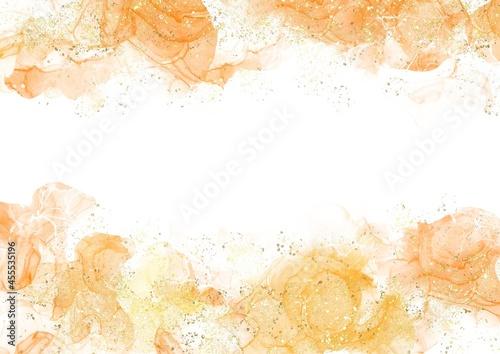 Obraz na plátně テクスチャー 背景 アルコールインク 水彩 オレンジ キラキラ グリッター