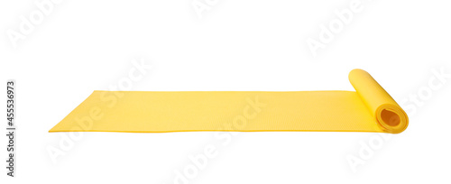 Fotografering Bright yellow camping mat isolated on white