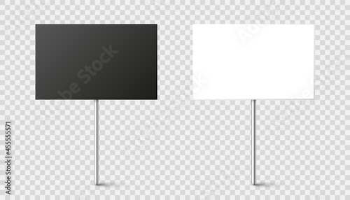 Fotografiet Black and white blank boards with place for text, protest sign