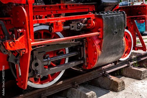 Fototapeta Steam engine of the old locomotive