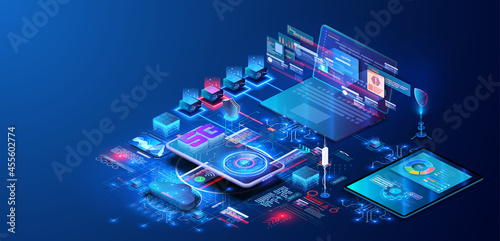 Modern Programming, testing cross platform code. Online devices upload, download information, data in database on cloud services on blue futuristic background. 5G network wireless with High speed.