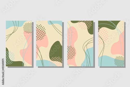 Murais de parede A set of cards in patsel colors with abstract spots
