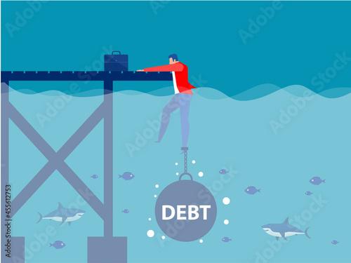 Obraz na plátně Businessman drowning chained with a weight Debt, Cartoon flat-style concept illu