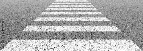 Fotografering Empty highway black asphalt road and white dividing lines, Crosswalk on the road