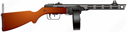 Fotografia, Obraz PPSh submachine gun, World War II times infantry weapon of the Red Army, handgun