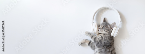 Fotografía Happy grey cat with white wireless headphones lying and enjoys on white table