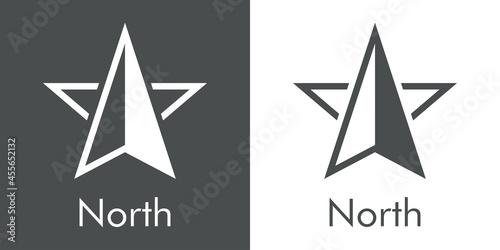 Fotografie, Obraz Logotipo con texto North con silueta de flecha de brújula con forma de estrella