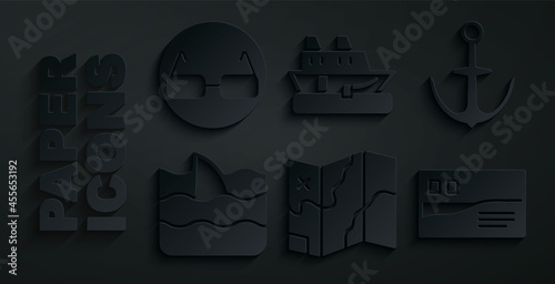 Photo Set Folded map, Anchor, Shark fin in ocean wave, Postcard travel, Cruise ship and Glasses icon