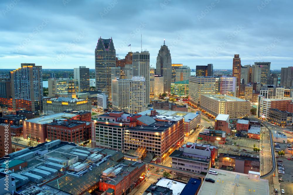 Leinwandbild Motiv - SeanPavonePhoto : Detroit, Michigan, USA Downtown Skyline