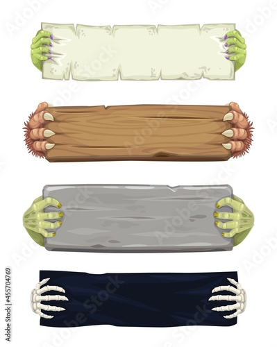 Vampire, werewolf, skeleton and zombie cartoon hands with banners and scrolls Fototapeta