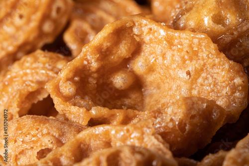 Billede på lærred Crispy fried confectionery in the shape of a conch eaten in Korea