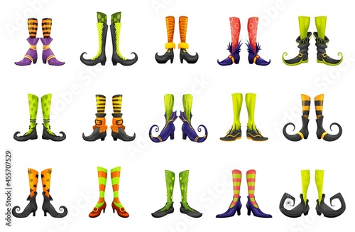 Cartoon legs of fairy witch sorceress or elf and enchantress, vector gnome boots Fototapet