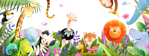 Fototapeta premium Jungle animals frame design for kids, African baby zoo banner in tropical forest. Many adorable safari or zoo animals in nature. Horizontal panorama for kids and children, vector art illustration.