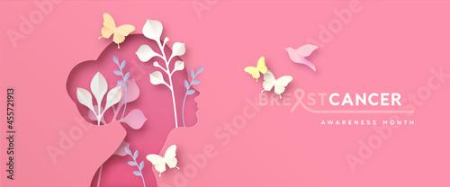 Breast Cancer awareness pink paper cut girl banner