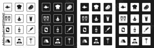 Fotografiet Set Steak meat, Kitchen apron, Stereo speaker, Fish, Glass of beer, Chef hat, Meat chopper and Soda can icon