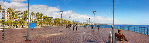 Fotografie, Obraz The Promenade of Limassol, panorama, tourists are enjoying Cypriot spring on the