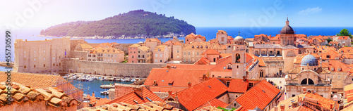 Fotografija Coastal summer landscape, panorama - view of the Old Town of Dubrovnik on the Ad