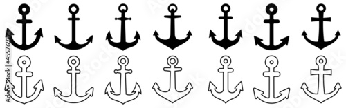 Foto Anchors icon set. Nautical signs. vector illustration