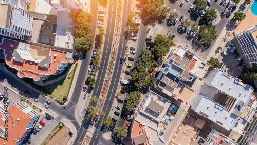Fotografia Aerial cityscape of houses and streets of Portugal cities