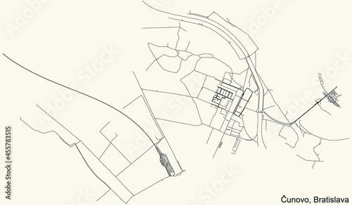 Fotografering Detailed navigation urban street roads map on vintage beige background of the Br