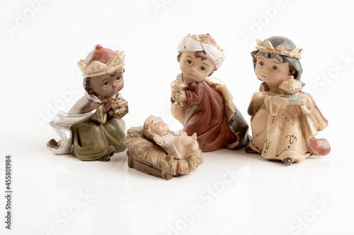 Valokuvatapetti The three wise boys and baby Jesus