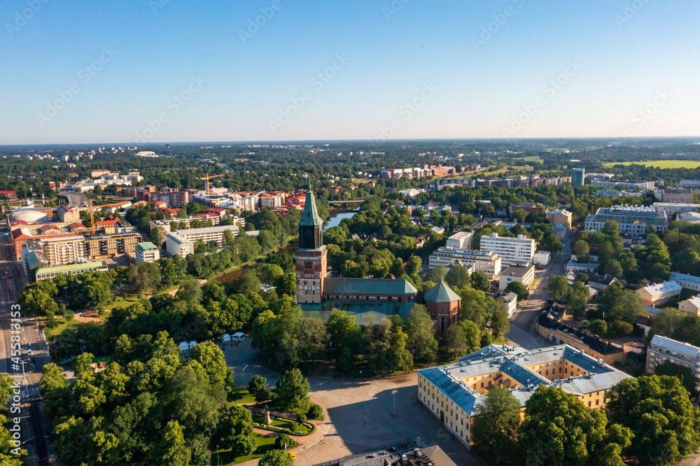Turku cathedral, sunny summer morning