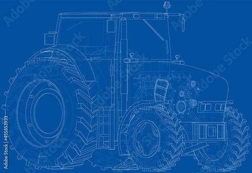 Fotografie, Obraz Farm Tractor Concept. Vector