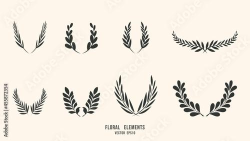 Canvas-taulu Hand drawn botanical elements  isolated background , Flat Modern design , illust