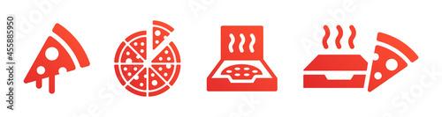 Fotografie, Obraz Pizza icons set. Fast food symbol