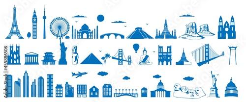 Fotografie, Obraz World famous architecture landmarks silhouettes, vector illustration