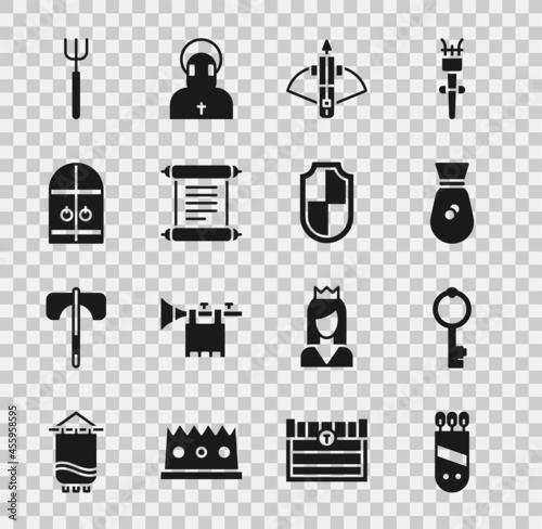 Fotografie, Obraz Set Quiver with arrows, Old key, money bag, Battle crossbow, Decree, parchment, scroll, Medieval castle gate, Garden pitchfork and Shield icon