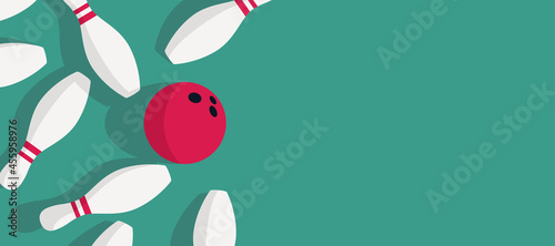 Cuadros en Lienzo skittles and bowling ball standing on bowling floor