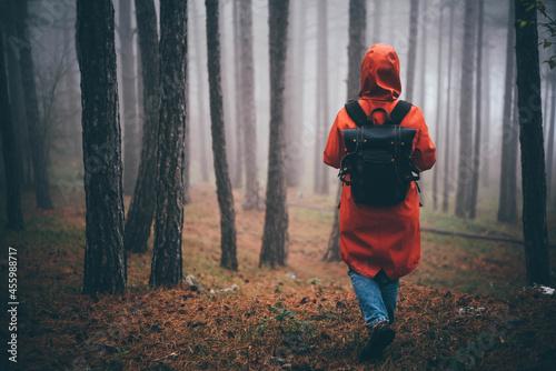Fotografiet Woman walking in the foggy autumn forest.