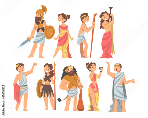 Greeks or Hellenes People Character in Ethnic Chiton Clothing Vector Illustratio Fototapet