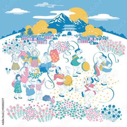 Fotografija Vector illustration of Korean villagers enjoying traditional festival Chooseok in autumn