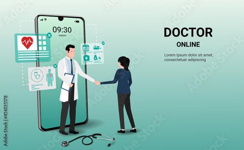 Fotografija Patient meeting doctor online on a smartphone and shaking hands