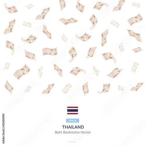 Fotografija 1000 Thai Baht Raining Falling, Thailand Baht Vector Illustration, Thailand Baht