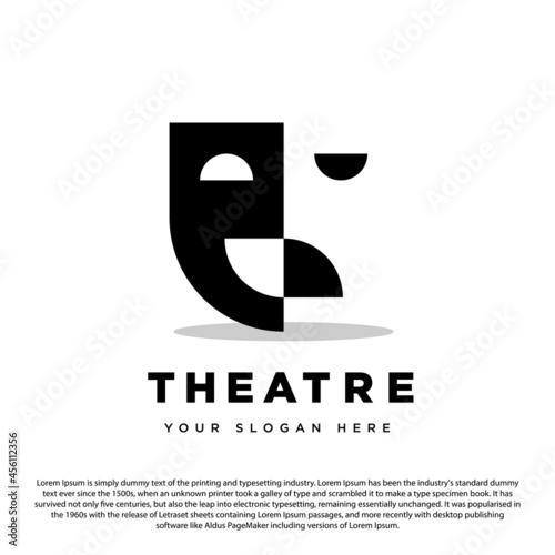 Fototapeta Theatre Mask Drama Logo Design Vector Template